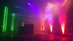 Lasershow + geyser rookmachine huren
